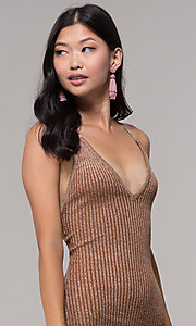 Image of deep-v-neck glitter rib-knit gold holiday dress. Style: AC-DS24615B Detail Image 1
