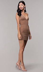 Image of deep-v-neck glitter rib-knit gold holiday dress. Style: AC-DS24615B Detail Image 3