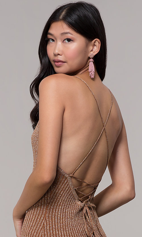 Image of deep-v-neck glitter rib-knit gold holiday dress. Style: AC-DS24615B Detail Image 2