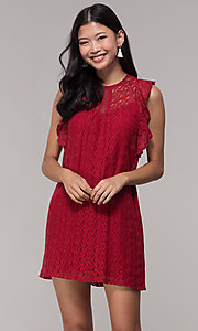 Image of short lace shift wedding-guest dress in burgundy. Style: AC-EDH15830WS Front Image