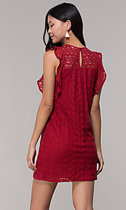 Image of short lace shift wedding-guest dress in burgundy. Style: AC-EDH15830WS Back Image