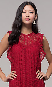 Image of short lace shift wedding-guest dress in burgundy. Style: AC-EDH15830WS Detail Image 1