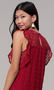 Image of short lace shift wedding-guest dress in burgundy. Style: AC-EDH15830WS Detail Image 2