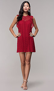 Image of short lace shift wedding-guest dress in burgundy. Style: AC-EDH15830WS Detail Image 3