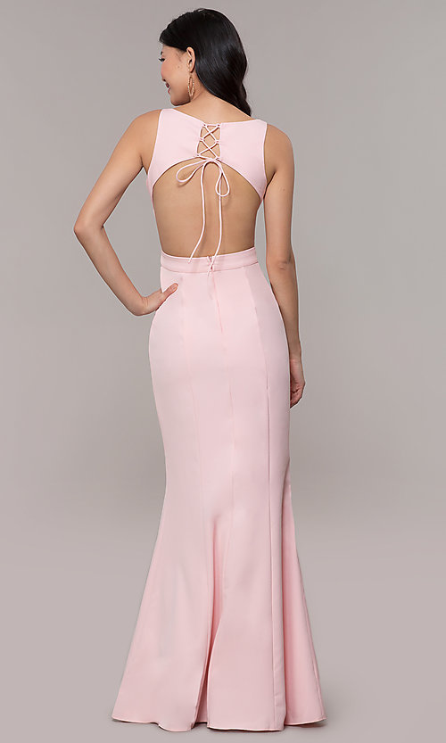 Image of long open-back satin formal dress with corset. Style: MT-9689-1 Front Image