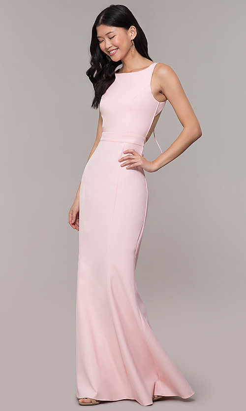 Image of long open-back satin formal dress with corset. Style: MT-9689-1 Detail Image 3
