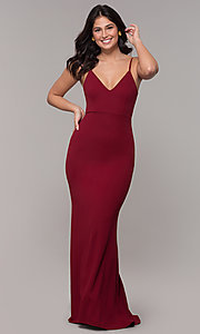 Image of formal long classic prom dress with cut-out back. Style: MT-9340 Detail Image 6