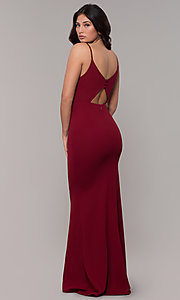 Image of formal long classic prom dress with cut-out back. Style: MT-9340 Detail Image 7