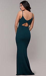 Image of formal long classic prom dress with cut-out back. Style: MT-9340 Back Image