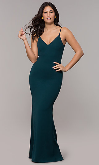 Formal Long Classic Prom Dress with Cut-Out Back