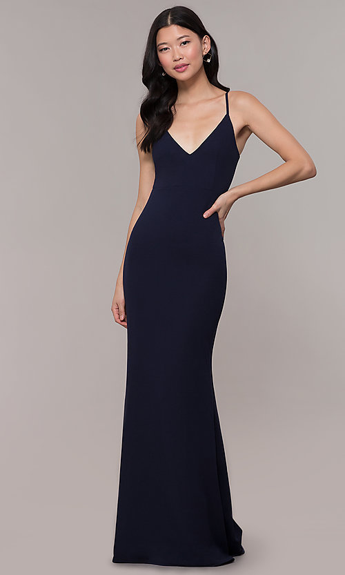 Image of formal long classic prom dress with cut-out back. Style: MT-9340 Detail Image 2