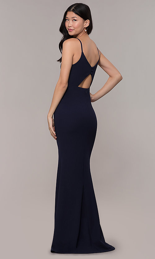 Image of formal long classic prom dress with cut-out back. Style: MT-9340 Detail Image 3