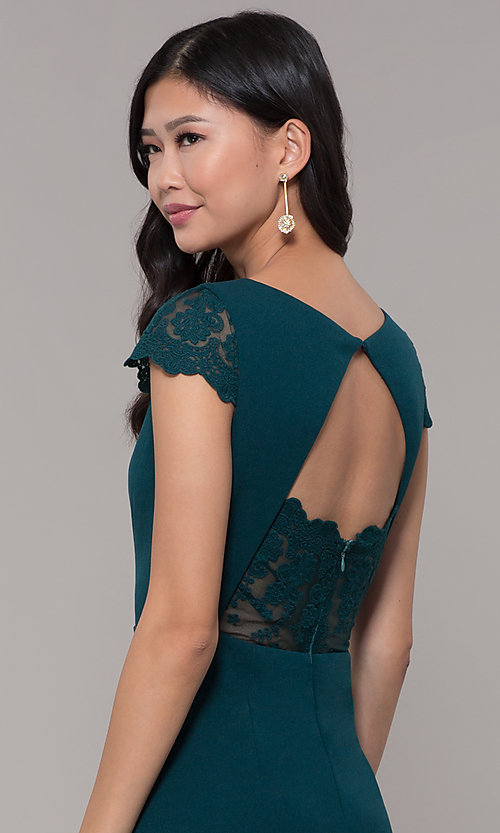 Image of long chiffon cap-sleeve formal dress with lace. Style: MT-9339 Detail Image 2