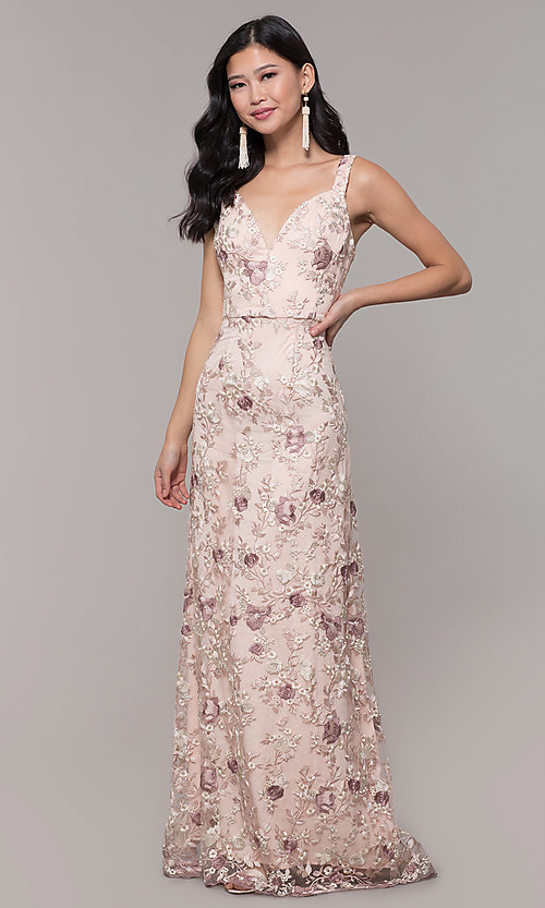 09c9ce52454 Image of long v-neck embroidered prom dress in blush pink. Style  MT