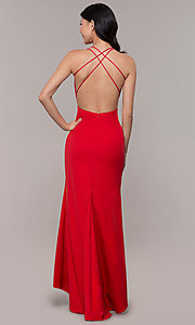Image of deep-v-neck long high-low formal dress with open back. Style: MT-9584 Detail Image 5
