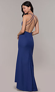 Image of deep-v-neck long high-low formal dress with open back. Style: MT-9584 Front Image