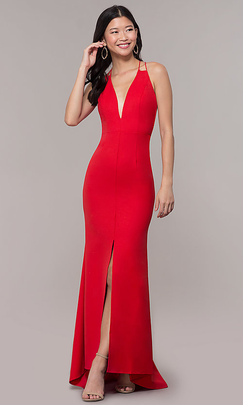 Image of deep-v-neck long high-low formal dress with open back. Style: MT-9584 Detail Image 4