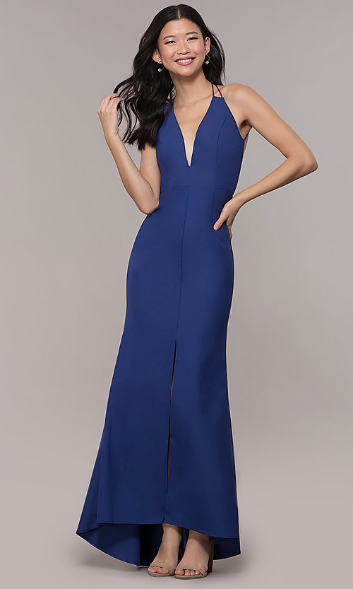 Image of deep-v-neck long high-low formal dress with open back. Style: MT-9584 Back Image