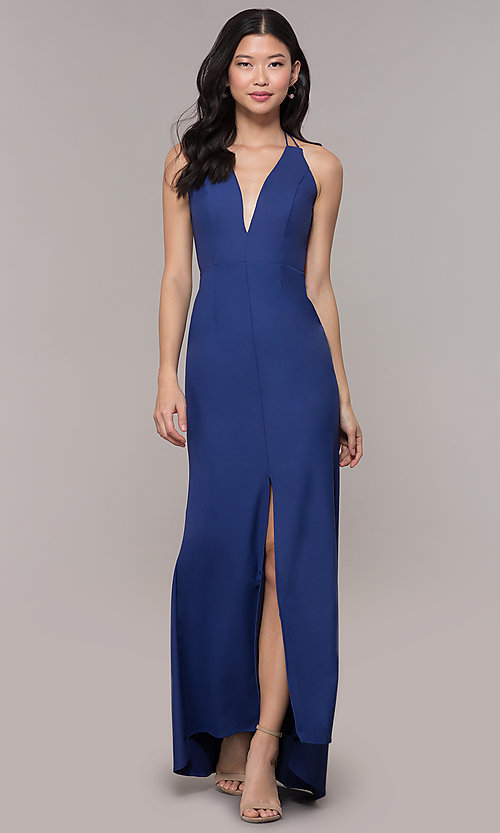 Image of deep-v-neck long high-low formal dress with open back. Style: MT-9584 Detail Image 3
