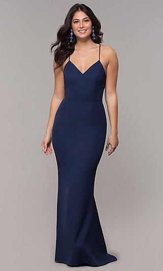 Long V-Neck Prom Dress with Corset Style Back