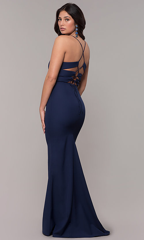 Long V Neck Corset Back Navy Blue Evening Dress