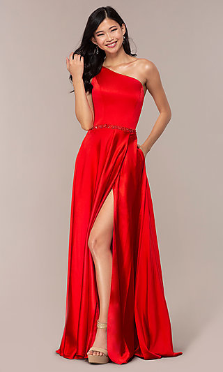 Long One-Shoulder Formal Gown with a Beaded Waist