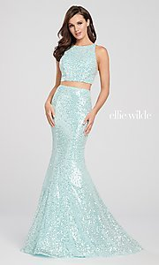 Image of long two-piece high-neck sequin formal dress. Style: TB-EW119058 Detail Image 3