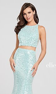 Image of long two-piece high-neck sequin formal dress. Style: TB-EW119058 Detail Image 4