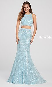 Image of long two-piece high-neck sequin formal dress. Style: TB-EW119058 Detail Image 5