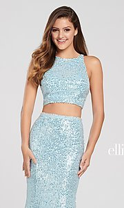 Image of long two-piece high-neck sequin formal dress. Style: TB-EW119058 Detail Image 6