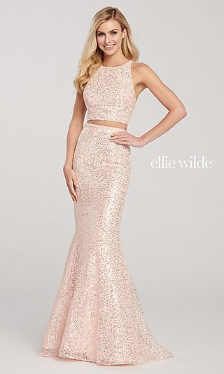 Long Two-Piece High-Neck Sequin Formal Dress