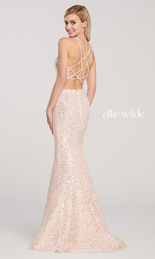 Image of long two-piece high-neck sequin formal dress. Style: TB-EW119058 Back Image