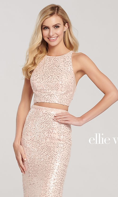 Image of long two-piece high-neck sequin formal dress. Style: TB-EW119058 Detail Image 1