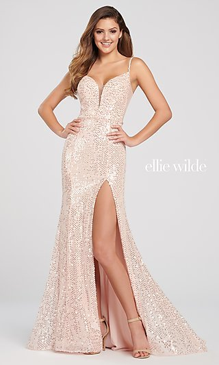 Long Deep V-Neck Open-Back Sequin Formal Gown