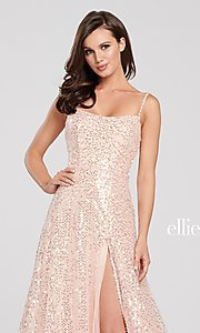 Image of long sparkly sequin formal dress by Ellie Wilde. Style: TB-EW119060 Detail Image 1