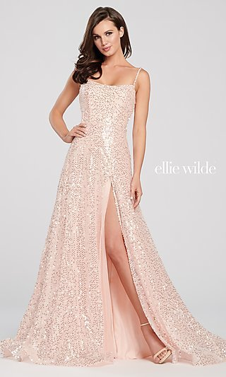 Long Sparkly Sequin Formal Dress by Ellie Wilde