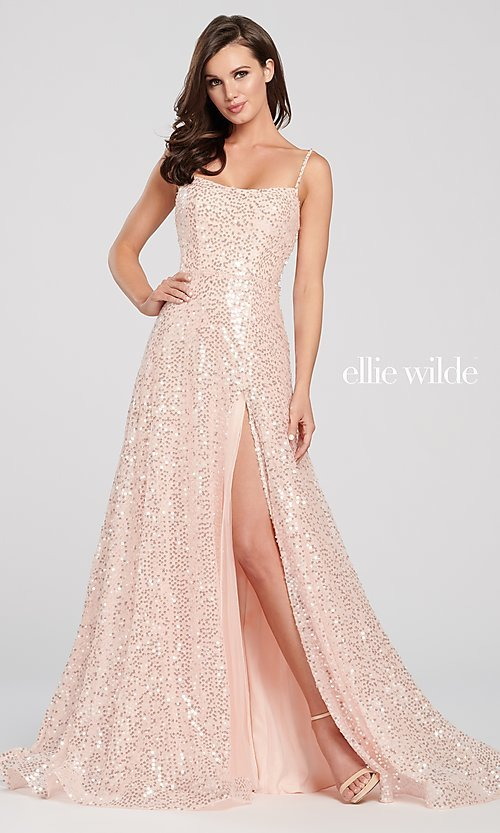 Image of long sparkly sequin formal dress by Ellie Wilde. Style: TB-EW119060 Front Image