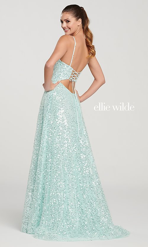 Image of long sparkly sequin formal dress by Ellie Wilde. Style: TB-EW119060 Back Image