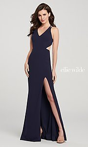 Image of long open-back formal dress with side cut outs. Style: TB-EW119159 Back Image