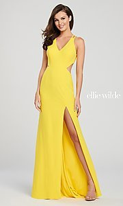 Image of long open-back formal dress with side cut outs. Style: TB-EW119159 Detail Image 5