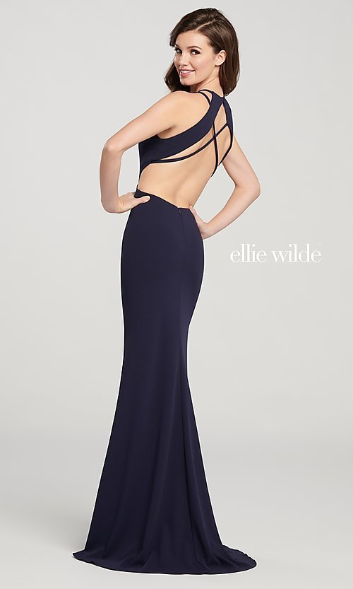 Image of long open-back formal dress with side cut outs. Style: TB-EW119159 Front Image