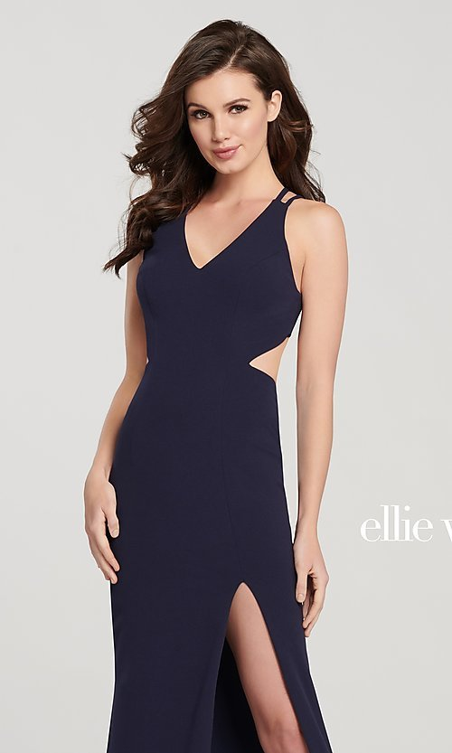 Image of long open-back formal dress with side cut outs. Style: TB-EW119159 Detail Image 2