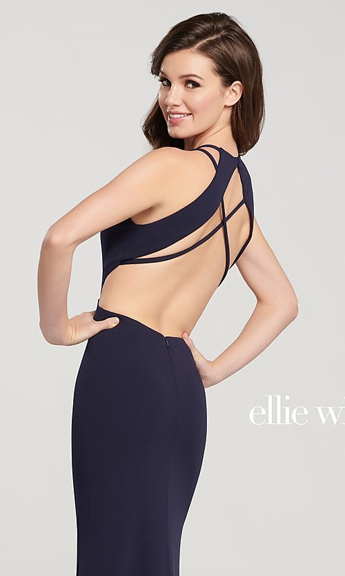 Image of long open-back formal dress with side cut outs. Style: TB-EW119159 Detail Image 1