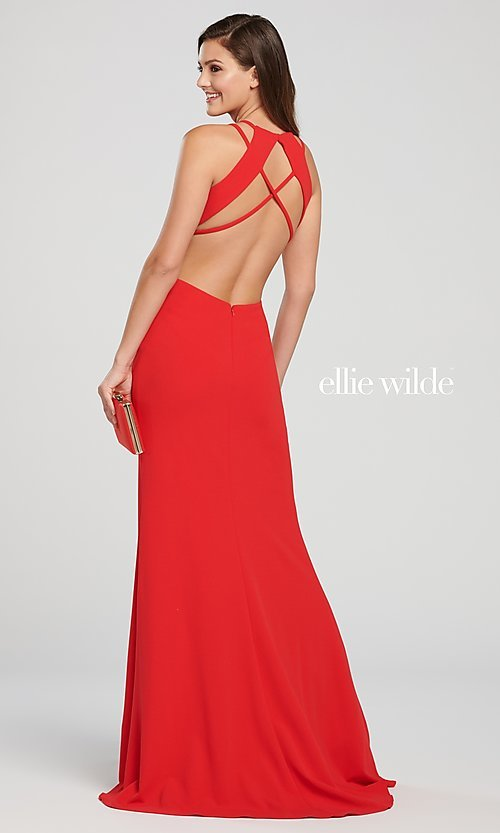 Image of long open-back formal dress with side cut outs. Style: TB-EW119159 Detail Image 3