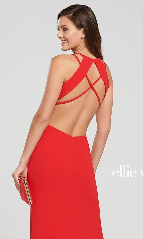 Image of long open-back formal dress with side cut outs. Style: TB-EW119159 Detail Image 4
