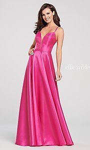 Image of long a-line metallic formal gown with pockets. Style: TB-EW119181 Detail Image 3