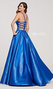 Image of long a-line metallic formal gown with pockets. Style: TB-EW119181 Back Image