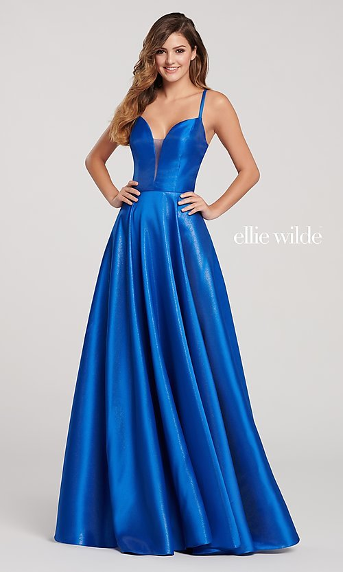 Image of long a-line metallic formal gown with pockets. Style: TB-EW119181 Front Image