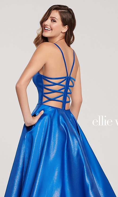 Image of long a-line metallic formal gown with pockets. Style: TB-EW119181 Detail Image 2