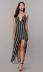 Image of striped high-low empire-waist wedding guest dress. Style: CL-46953 Detail Image 3
